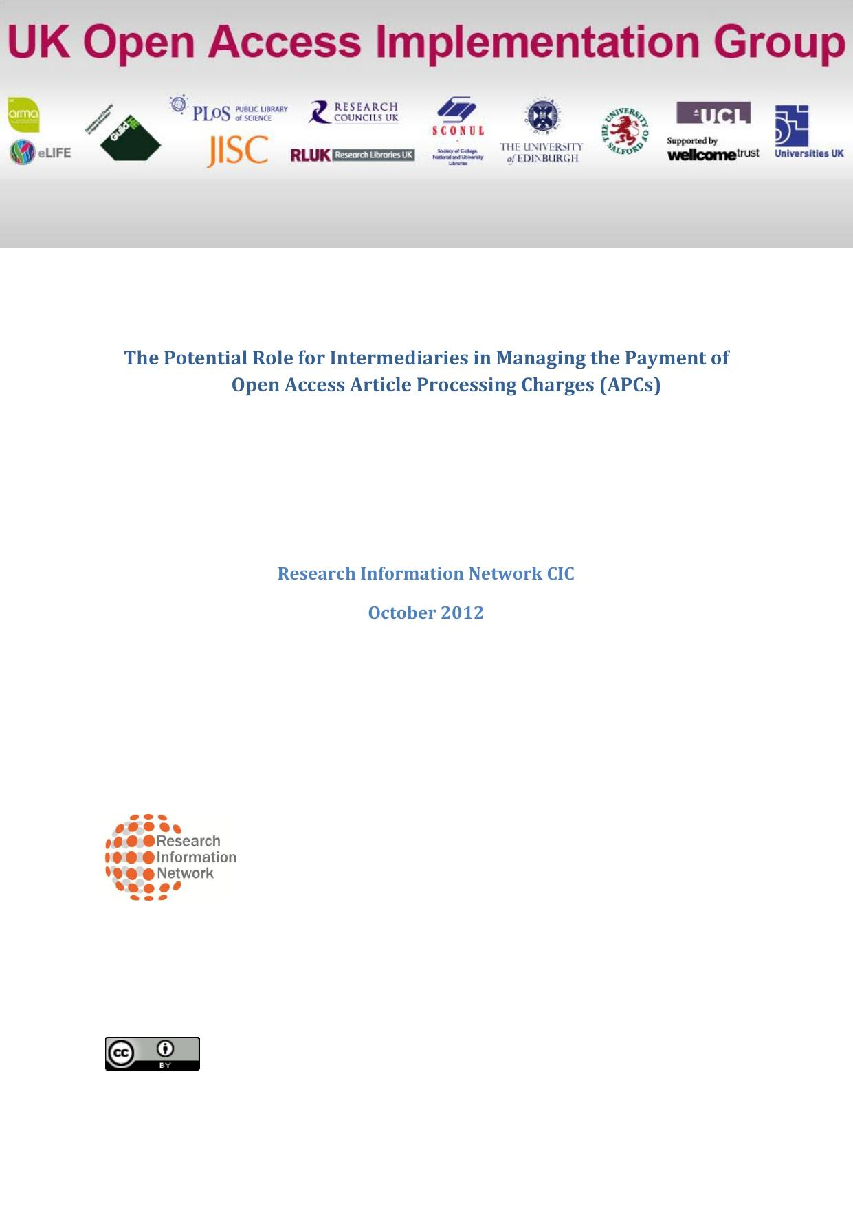 Potential Role for Intermediaries in Managing the Article Processing Charges (APCs)