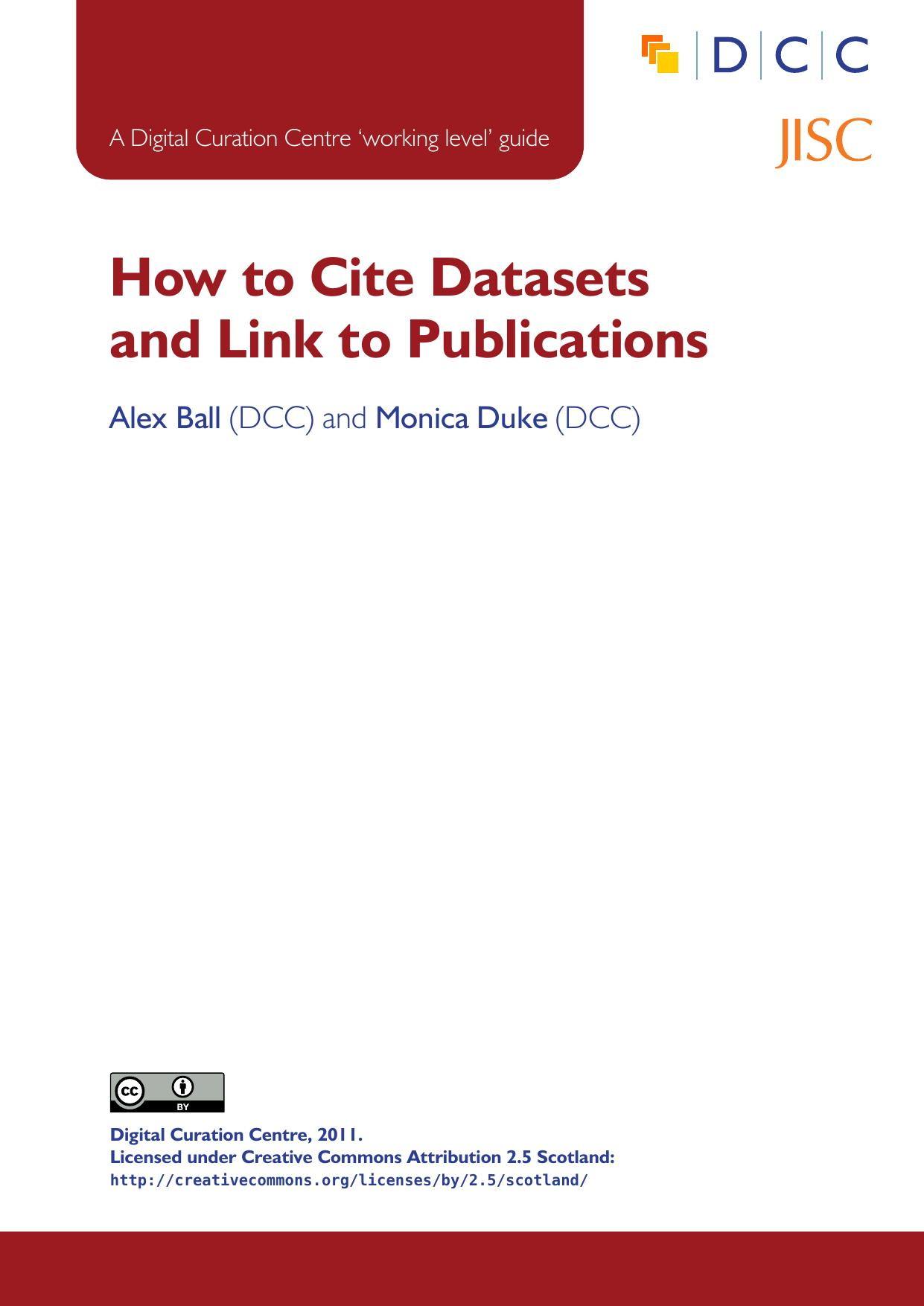 How to Cite Datasets and Link to Publications