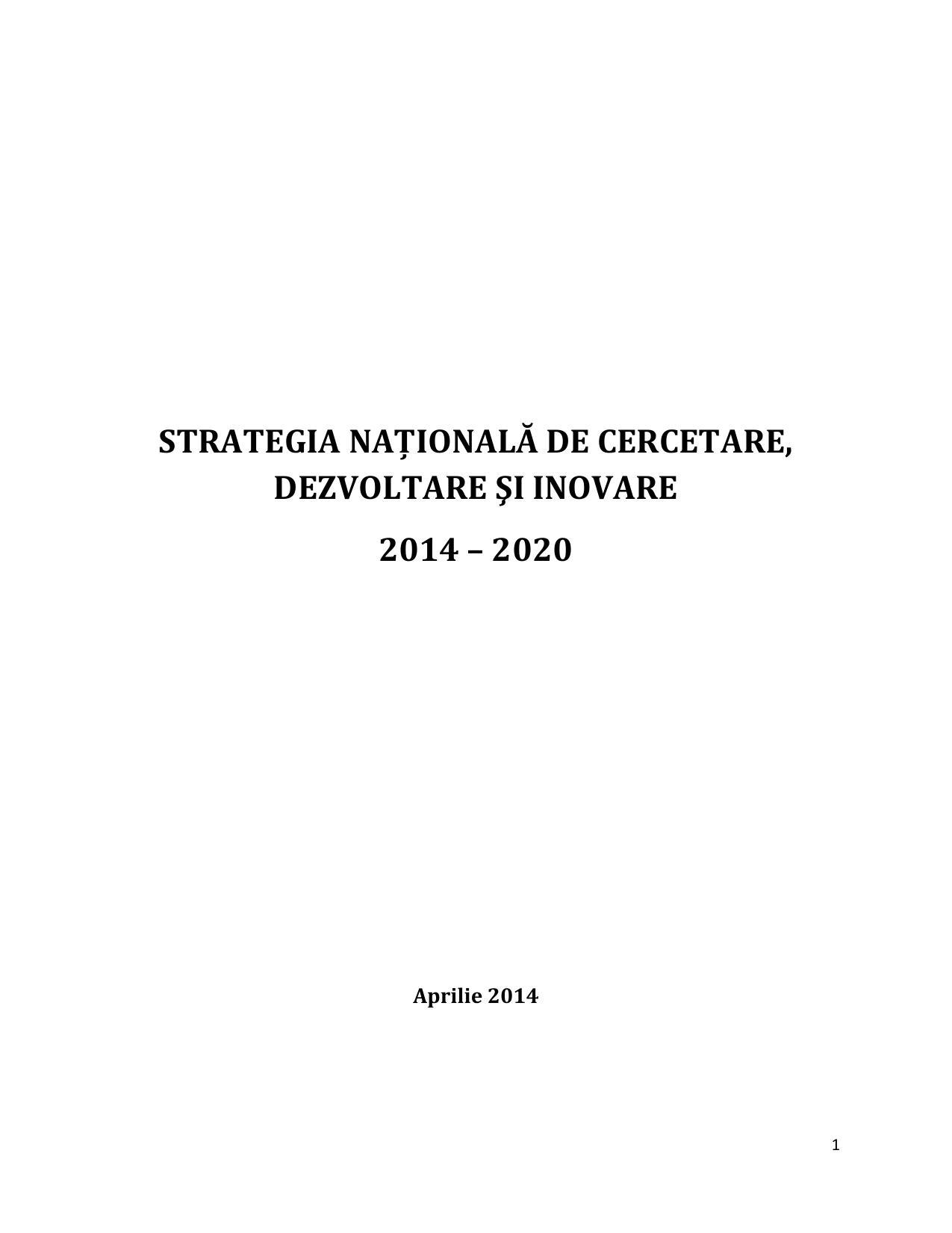 Strategia nationala de cercetare dezvoltare si inovare 2014 2020   Ministerul Educatiei
