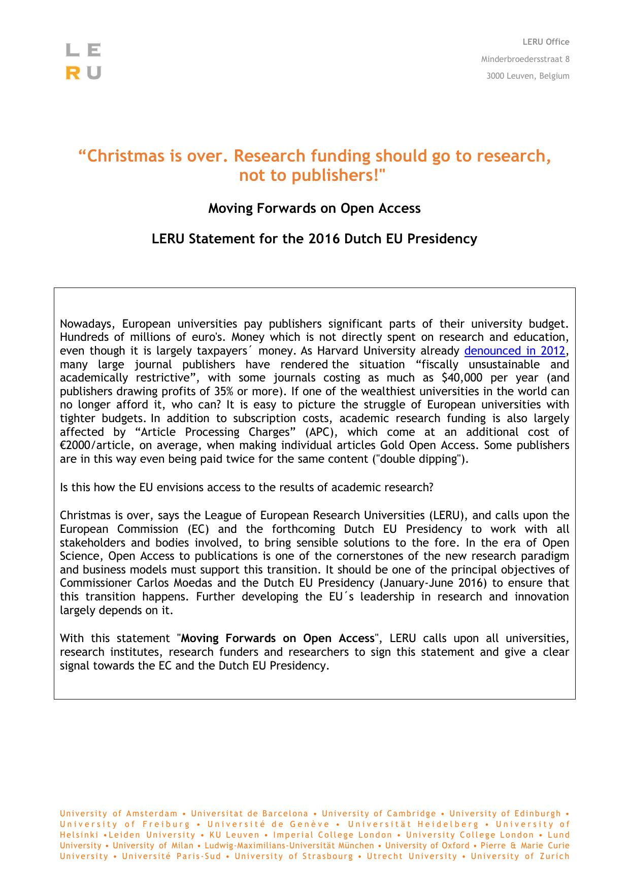 """""""Christmas is over Research funding should go to research, not to publishers""""!"""