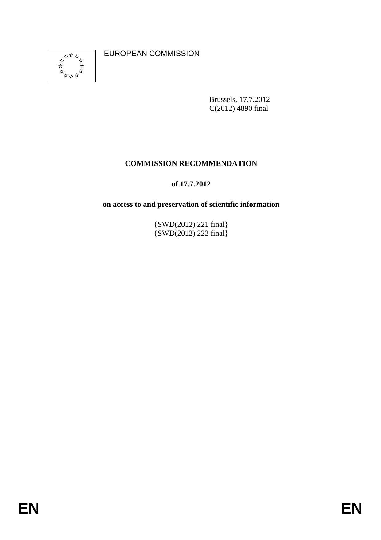 Commission Recommendation on access to and preservation of scientific information
