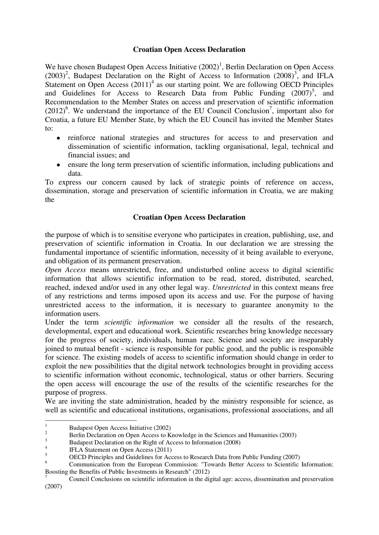 Croatian Open Access Declaration