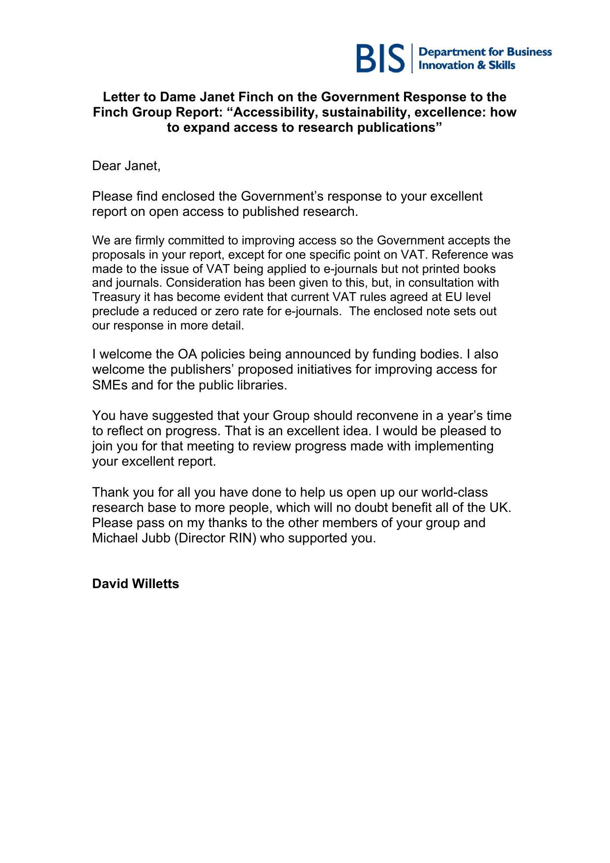 Letter to Dame Janet Finch on the Government response to the Finch Group Report
