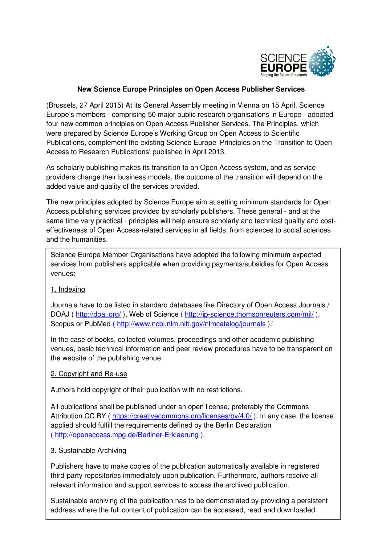 Science Europe Position Statement   Science Europe