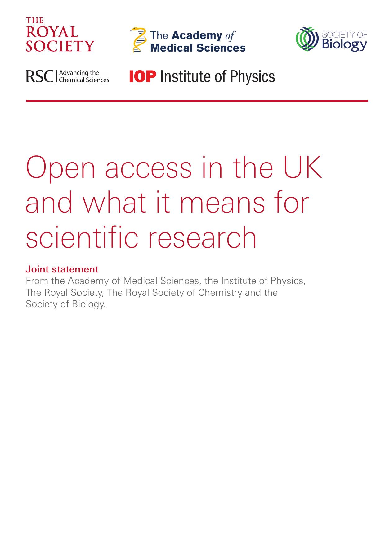 Open access in the UK and what it means for scientific research   The Royal Society