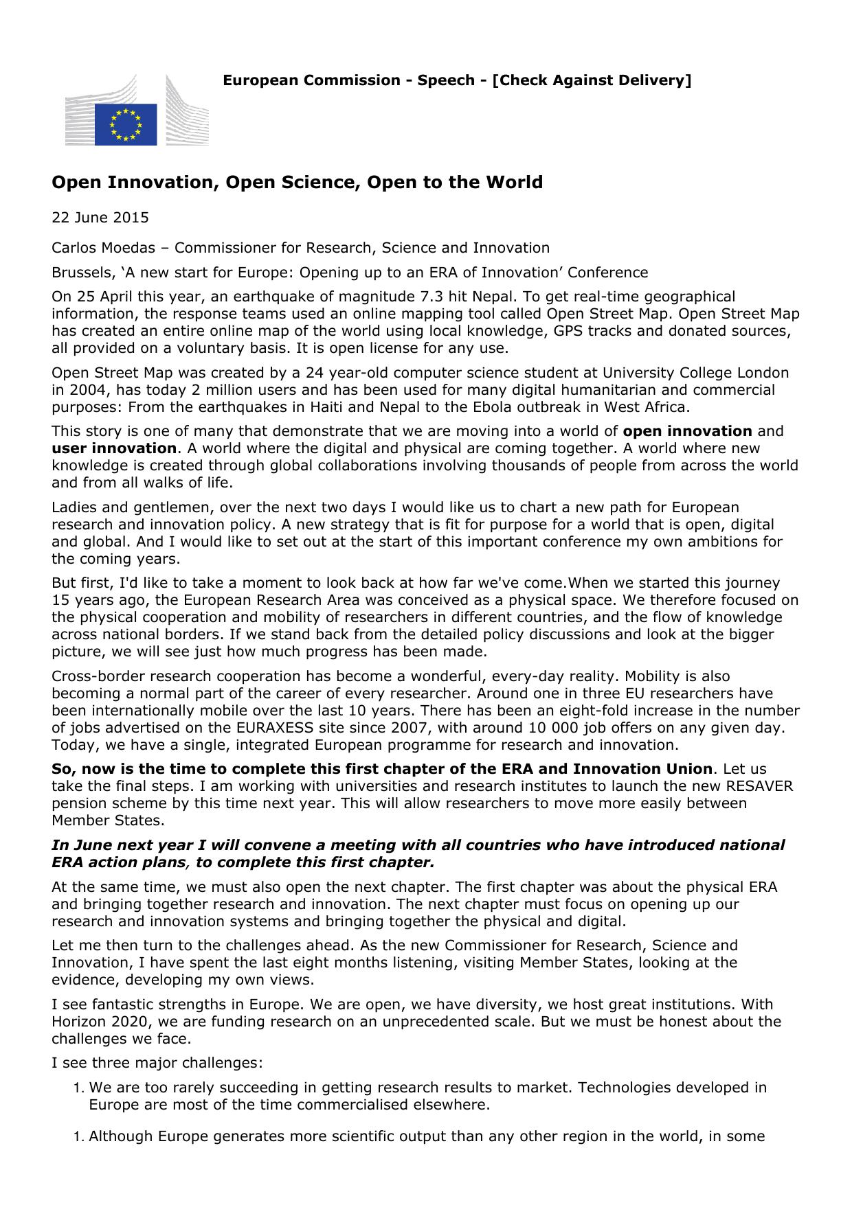 SPEECH 15-5243, Carlos Moedas; Open Innovation, Open Science, Open to the World, 22 June 2015